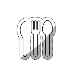 Sticker medium shade of cutlery icon flat vector