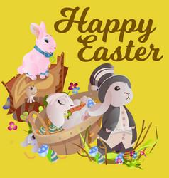 Set of easter chocolate egg hunt bunny basket on vector