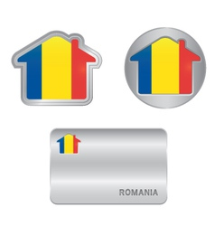 Home icon on the romania flag vector