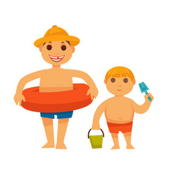 boy in lifebuoy and brother with bucket on white vector image