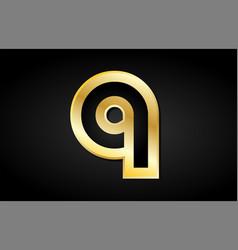 q gold golden letter logo icon design vector image