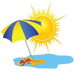Sun and paradise beach cartoon vector