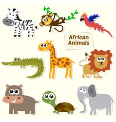 Set of jungle animals cute cartoon african animals vector