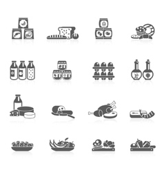 Supermarket icons black vector