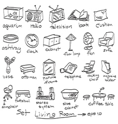 Objects in living room doodles vector