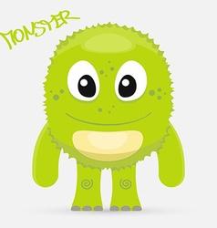 Cute green monster vector image