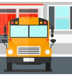 Yellow bus on the background of school building vector