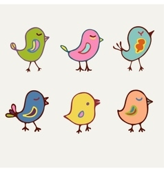 Birds collection of line art cartoon color birds vector