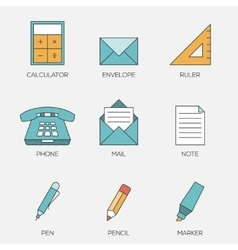 Office tools color line icons vol 2 vector