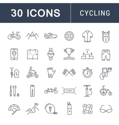 Set flat line icons cycling vector