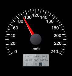 black speedometer scale speed gauge vector image vector image