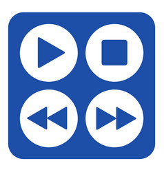 blue white sign - four music control buttons icon vector image