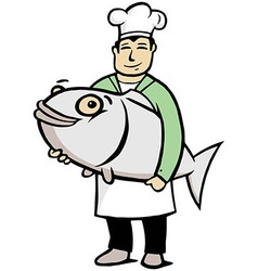 Chef holding a big fish vector image