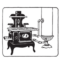Coal fuelled water heater and stove vintage vector