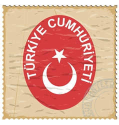 Coat of arms of turkey on the old postage stamp vector