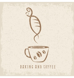 Coffee and bakery negative space concept grunge vector