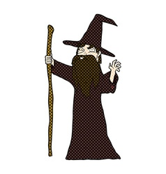 comic cartoon old wizard vector image