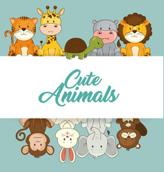 Cute animals baby shower card vector