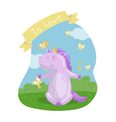 cute unicorn character sitting on green lawn in vector image vector image