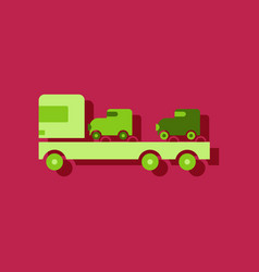 flat icon design collection car carrier truck vector image vector image