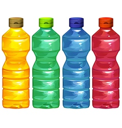 Four water bottles vector