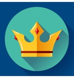 Gold crown with rubies Flat design style vector image