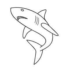 Great white shark icon in outline style isolated vector