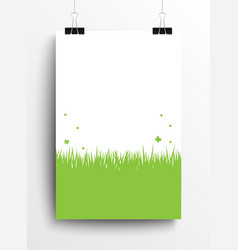 Green grass poster on the wall Eps 10 vector image