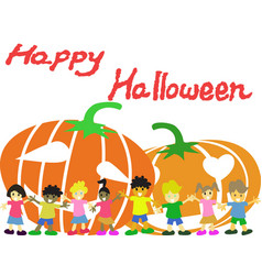 Happy children and pumpkins halloween card vector