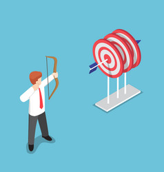 isometric businessman shooting at the center of vector image