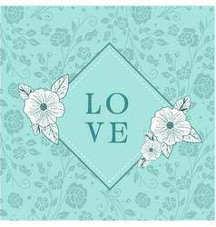 Love square retro flowers green background vector
