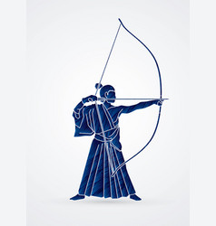 man bowing kyudo archer sport man vector image vector image