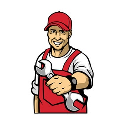 mechanic hold a wrench vector image