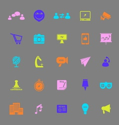 Media marketing color icons on gray background vector