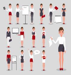 Modern businesswoman at work set vector