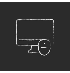 Monitor and computer mouse drawn in chalk vector image