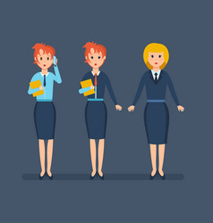 office staff work with documents talk on phone vector image vector image