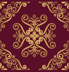 Ornamental pattern design in golden color vector