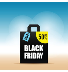 paper bag with black friday and tag on it vector image vector image
