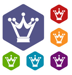 Princess crown icons set hexagon vector