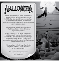 Retro BW Halloween Poster Ready for Design vector image vector image