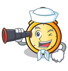 Sailor with binocular chronometer character vector