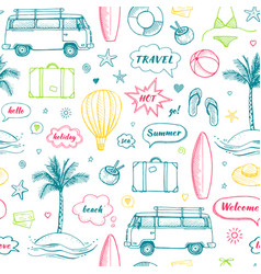 seamless pattern of hand drawn travel doodle vector image vector image