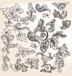 set of floral elements for calligraphic design vector image vector image