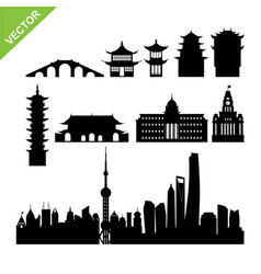 shanghai landmark and skyline silhouettes vector image