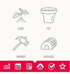 Sprout plant hammer and pot icons vector