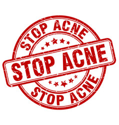 Stop acne red grunge stamp vector