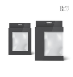two black product package boxes with window vector image vector image