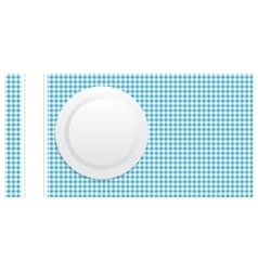 white plate on blue tablecloth vector image