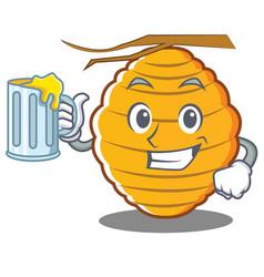 With juice bee hive character cartoon vector